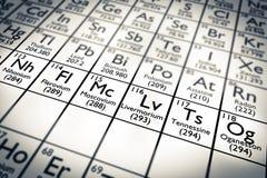 3D illustration Nihonium 113, Moscovium 115, Tennessine 115 et Oganesson 118 - nouveaux éléments chimiques Image libre de droits