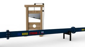 3D illustration of `North stream ` pipeline and the guillotine. The idea of us sanctions against Russia in the construction of the royalty free illustration