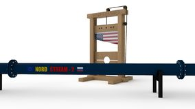 3D illustration of `North stream ` pipeline and the guillotine. The idea of us sanctions against Russia in the construction of the vector illustration