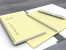 3d illustration of note book with goals. Stock Photos