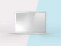 3D Illustration of Notebook on Simple Pastel Pink Mint Backgroun. 3D Illustration of Realistic Laptop. Front View of Notebook on Simple Pastel Pink Mint Stock Photo