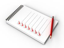 Check list. 3d illustration of notepad with check list, all tasks is done Royalty Free Stock Photo