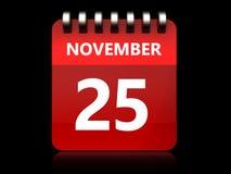 3d 25 november calendar. 3d illustration of november 25 calendar over black background Stock Photos