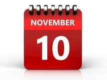 3d 10 november calendar. 3d illustration of november 10 calendar over white background Stock Photography