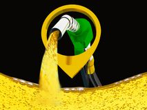 3D illustration, nozzle pumping gasoline in a tank, of fuel nozzle pouring gasoline over white background. 3D illustration, nozzle pumping gasoline in a tank stock illustration
