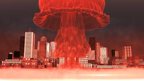 3D Illustration of a nuclear explosion over a large city.  Stock Photos