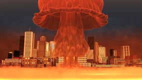 3D Illustration of a nuclear explosion over a large city.  Royalty Free Stock Images