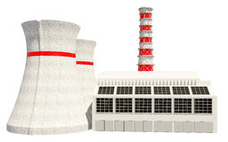 3D Illustration of Nuclear power station Stock Images