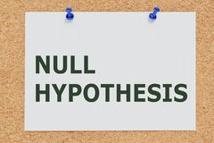 NULL HYPOTHESIS concept. 3D illustration of NULL HYPOTHESIS on cork board stock image