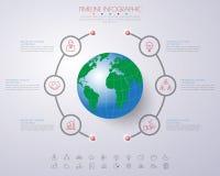 3D illustration numérique abstraite Infographic avec la carte du monde canette illustration stock