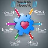 3D illustration numérique abstraite Infographic Graphisme de coeur Photo stock