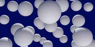 3d illustration of numerous, white spheres. With a dark blue background Royalty Free Stock Photography