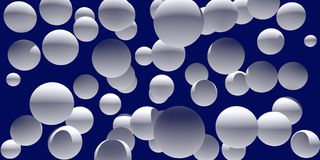 3d illustration of numerous, white spheres. With a dark blue background Royalty Free Stock Images
