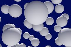 3d illustration of numerous, white spheres. With dark blue background Royalty Free Stock Image