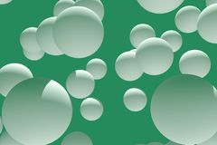 3d illustration of numerous, white spheres. With green background Royalty Free Stock Image