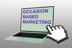 OCCASION-BASED MARKETING (OBM) concept. 3D illustration of OCCASION-BASED MARKETING script with hand icon pointing at the laptop screen Stock Photography