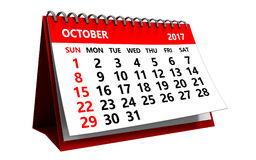 3d october 2017 calendaer. 3d illustration of october 2017 calendar isolated over white background Royalty Free Stock Photos