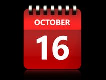 3d 16 october calendar. 3d illustration of october 16 calendar over black background Stock Photography