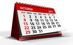 October 2017 calendar. 3d illustration of october 2017 calendar over white background with shadow Royalty Free Stock Image
