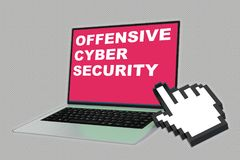 Offensive Cyber Security concept. 3D illustration of OFFENSIVE CYBER SECURITY script with pointing hand icon pointing at the laptop screen Stock Images