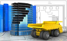 3d of heavy truck. 3d illustration of office building construction with drawing roll over blueprint background Stock Photography