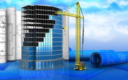 3d of office building construction. 3d illustration of office building construction with drawings over sky background Stock Photography