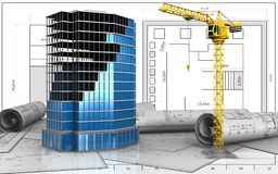 3d of office building construction. 3d illustration of office building construction over blueprint background Stock Photo