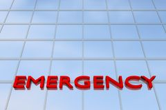 Emergency Unit concept. 3D illustration of office building with the script EMERGENCY Stock Photos