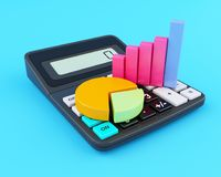 3d Office calculator and business graph. 3d illustration. Office calculator and business graph. Business finance and banking concept Royalty Free Stock Photography