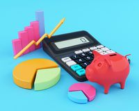 3d Office calculator with piggy bank and graphics. 3d illustration. Office calculator with piggy bank and graphics. Business finance and banking concept Stock Images