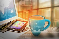 3d illustration of office desk with business charts. Financial background Royalty Free Stock Image