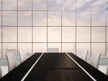 3d illustration of office interior with black table Royalty Free Stock Photos