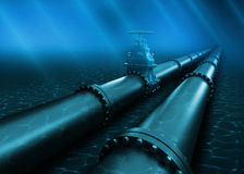 3d Illustration of oil pipeline lying on ocean bottom under water Royalty Free Stock Photos