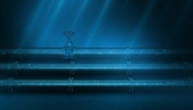 3d Illustration of oil pipeline lying on ocean bottom under water Royalty Free Stock Image