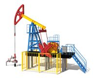 3d illustration. The oil pump. Red, blue, yellow. View 2 vector illustration