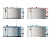 3d illustration oil tank. Isolated. Frontal view. 3d illustration of the oil storage. Frontal view. A set of different color blanks for branding. 3D modeling Stock Photo