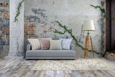 3D illustration of old empty room with sofa in light colors. Light gray sofa in vintage room in soft colors Stock Photo