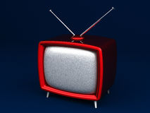 3D Illustration of old style red TV on dark background Stock Photo