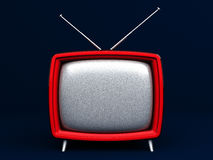 3D Illustration of old style red TV on dark background Royalty Free Stock Photos