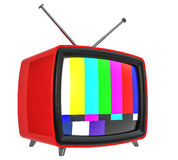 3D Illustration of old style red TV isolated on white Royalty Free Stock Photography
