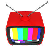 3D Illustration of old style red TV isolated on white Stock Photo