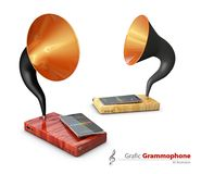 3d Illustration of Old vintage gramophones. Mobile apps concept.  Stock Image