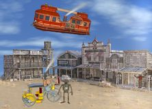 3D illustration of Old Western Steam Punk Scene Royalty Free Stock Image