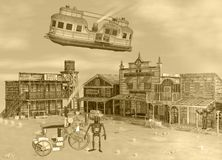 3D Sepia Tone illustration of Old Western Steam Punk Scene Stock Photo