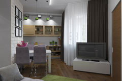 3D illustration of the one-room apartment Stock Photography