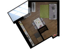 3D illustration of the one-room apartment Royalty Free Stock Images