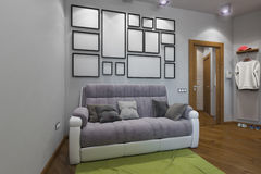 3D illustration of the one-room apartment Stock Images