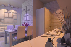 3D illustration of the one-room apartment. Visualization without Stock Image