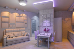 3D illustration of the one-room apartment. Visualization without Stock Photos