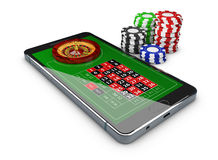 3d Illustration of Online games web with phone casino roulette wheel, Online play concept. 3d Illustration of Online games web with phone casino roulette wheel Stock Images